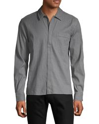 HUGO Regular-fit Zip-up Shirt - Grey