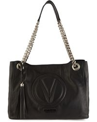 Valentino By Mario Valentino Verra Sauvage Quilted Logo Leather Tote - Black