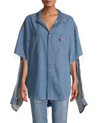 Vetements Logo Denim Shirt - Blue