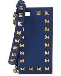 Valentino Garavani Women's Rockstud Leather Iphone 5 Case - Grey