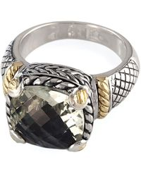 Portolano Balissima Sterling Silver And 18kt. Yellow Gold Green Amethyst Ring - Metallic