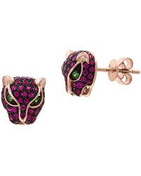 Effy 14k Rose Gold, Tsavorite & Ruby Panther Stud Earrings - Pink