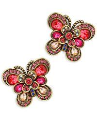 Heidi Daus Multi-color Rhinestone Butterfly Stud Earrings - Red