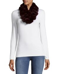 Surell Dyed Rex Rabbit Fur Ball Loop Scarf - Black