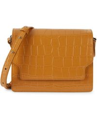 Marge Sherwood Women's Brick Embossed Leather Shoulder Bag - Mustard - Brown