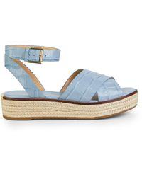 Michael Kors Abbott Croc-embossed Leather Espadrille Sandals - Blue