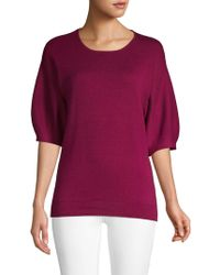 Laundry by Shelli Segal Elbow-length Puff-sleeve Jumper - Purple