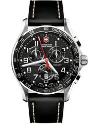 Victorinox - Chrono Classic Xls Stainless Steel & Leather Chronograph Strap Watch - Lyst