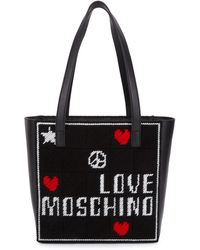 Love Moschino Embroidered Tote - Black
