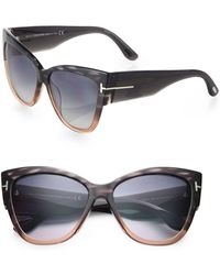 9152b40cbce Lyst - Tom Ford Anoushka 57mm Mirrored Cat Eye Sunglasses in Gray