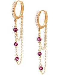 Gabi Rielle - Women's Renew 14k Gold Vermeil & Cubic Zirconia Dangle Huggie Earrings - Lyst
