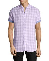 Report Collection Gingham-print Modern-fit Linen Shirt - Purple