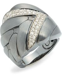 John Hardy Black Rhodium-plated Sterling Silver & Diamond Ring - Metallic