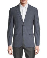 Theory Men's Hudson Standard-fit Plaid Jacket - Blue - Size 38 R