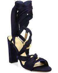 Alexandre Birman - Alessa Silk & Suede Ankle-wrap Sandals - Lyst