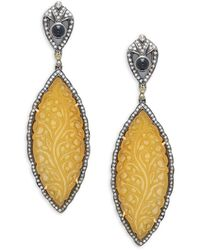 Artisan 925 Sterling Silver, 18k Gold & Multi-stone Drop Earrings - Metallic
