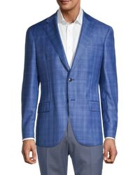Lubiam Men's Standard-fit Plaid Virgin Wool Jacket - Turquoise - Size 50 (40) - Blue