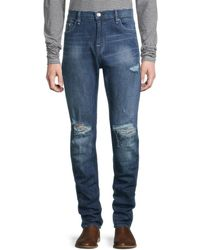 True Religion Men's Distressed Skinny Jeans - Medium Blue - Size 30