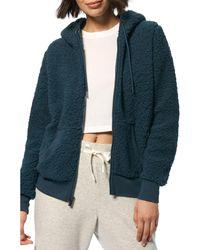 Marc New York Hooded Teddy Fleece Jacket - Blue