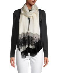 La Fiorentina Wool & Silk Lace-trim Scarf - Black