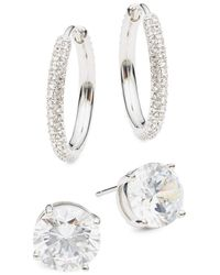 Adriana Orsini Women's 2-pair Rhodium-plated & Crystal Earrings Set - White