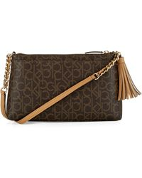 Calvin Klein Logo Shoulder Bag With Tassel - Brown