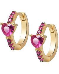 Gabi Rielle - Women's I Heart You Gold Vermeil & Cubic Zirconia Huggie Earrings - Lyst