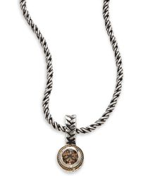 Effy - Blue Topaz, Sterling Silver & 18k Yellow Gold Pendant Necklace - Lyst