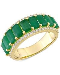 Saks Fifth Avenue Women's 14k Yellow Gold, Emerald & Diamond Semi-eternity Ring/size 8 - Size 8 - Green