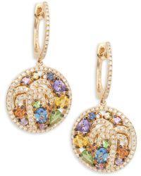 Effy 14k Yellow Gold Multi-color Sapphire & Diamond Dangle Drop Earrings - Metallic