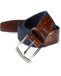 Saks Fifth Avenue Men's Collection Woven Belt - Navy - Size 42 - Blue