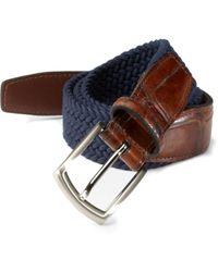 Saks Fifth Avenue Men's Collection Woven Belt - Navy - Size 42 - Blue