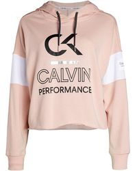 Calvin Klein Women's Logo Colorblock Cropped Hoodie - White - Size L