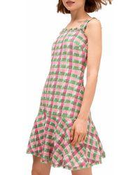 Kate Spade Plaid Tweed Drop-waist Dress - Multicolour