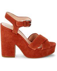 Kate Spade Women's Grace Suede Heeled Sandals - Dark Tawny - Size 7.5 - Multicolour
