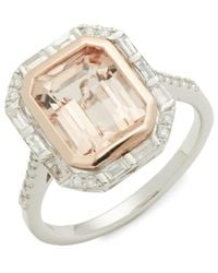 Effy 14k Two-tone Gold, Morganite & Diamond Ring - Metallic
