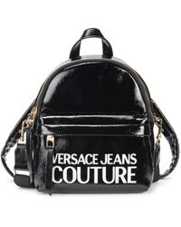 Versace Jeans Couture Women's Faux Leather Convertible Logo Backpack - Black