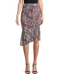 Parker Women's Saffron Python-print Asymmetrical Skirt - Viola Python - Size L - Multicolour