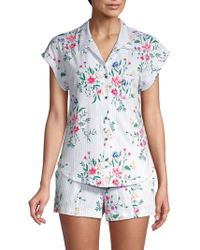 Jane And Bleecker 2-piece Floral Pyjama Set - Blue