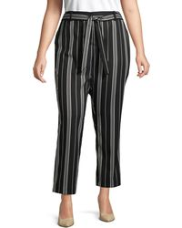 Vince Camuto Plus Striped Belted Trousers - Black