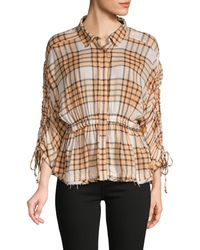 Free People Plaid Ruched-sleeve Shirt - Multicolour