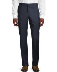 BOSS by Hugo Boss Men's Genius5 Flat-front Linen Trousers - Navy - Size 30 - Blue