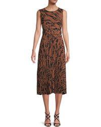 T Tahari Pleated Print Dress - Brown
