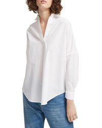 French Connection Rhodes Oversized Poplin Cotton Top - Blue