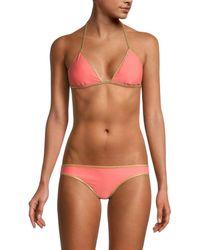 Sam Edelman Reversible Triangle Bikini Top - Pink