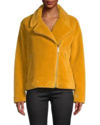 SOIA & KYO Women's Sherpa Moto Jacket - Cinnamon - Size L - Yellow