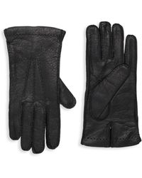 Portolano Cashmere-lined Leather Gloves - Black