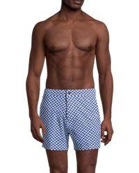 Onia Men's Calder Chevron-print Swim Trunks - Surf Blue - Size S