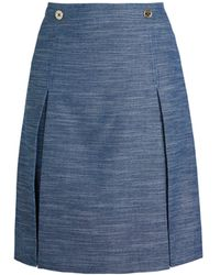 Tommy Hilfiger Pleated A-line Skirt - Blue
