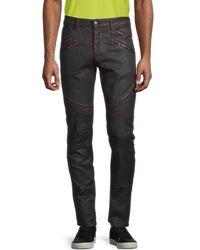 Marcelo Burlon Overdye-wash Biker Jeans - Black